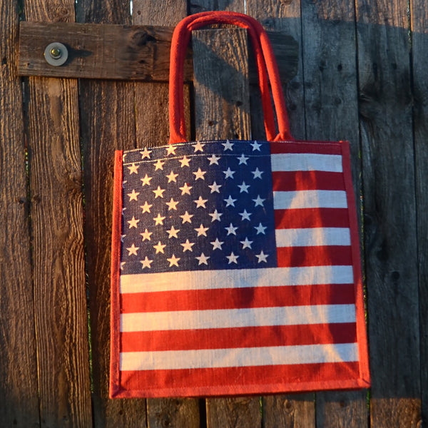 Stars and Stripes Jute Tote Bag