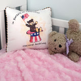 Teddy in Hat Cotton Pillow
