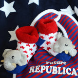 Republican Elephant Bib and Rattle Sock Set