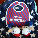 Democrat Donkey Bib and Rattle Sock Set