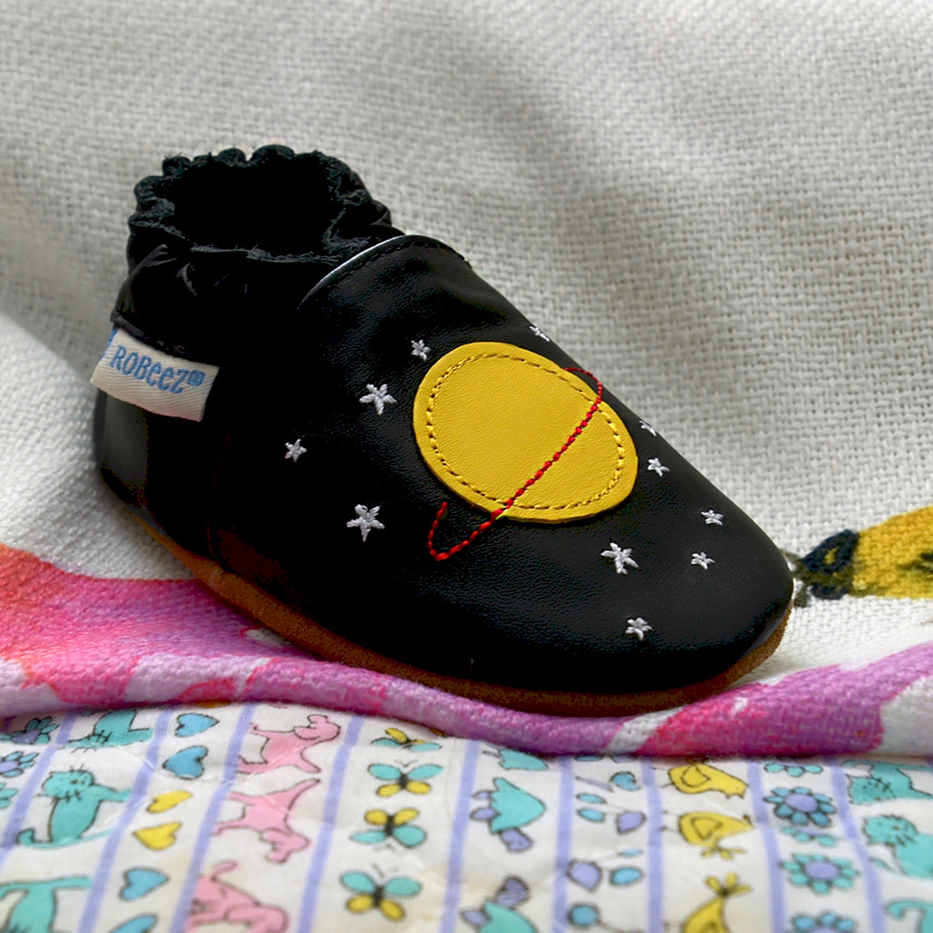 Space Dream Black Baby Shoes