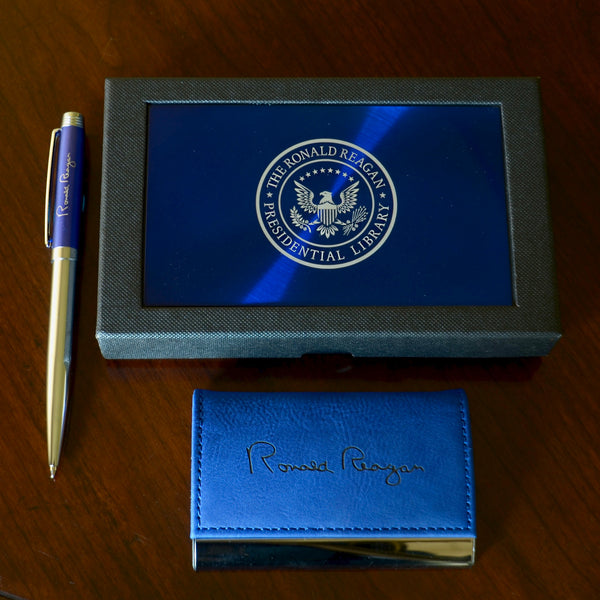 Ronald Reagan Business Card Holder and Pen Set