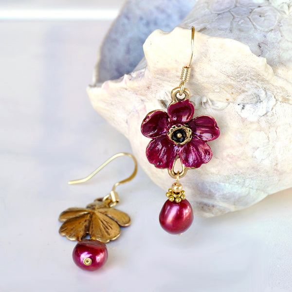 Purple Blossom Drop Earrings with Cultured Pearl