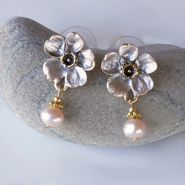 Blush Blossom Post Earrings with Cultured Pearl