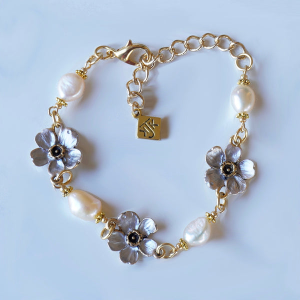 Blush Cherry Blossom and Pearl Linked Bracelet