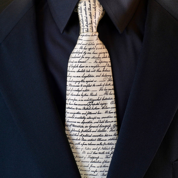 Declaration of Independence Ivory Silk Tie