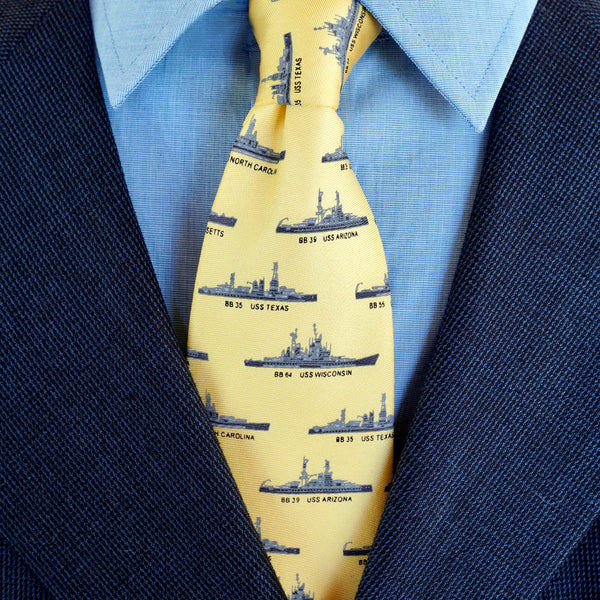Yellow US Battleships Silk Tie