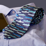 Blue US Aircraft Carriers Silk Tie