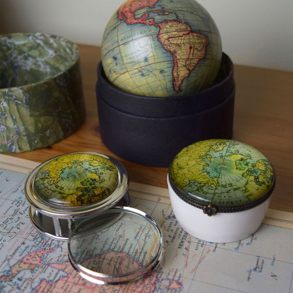 Vintage World Traveler Bundle Set 1: Globe, Magnifier and Trinket Box