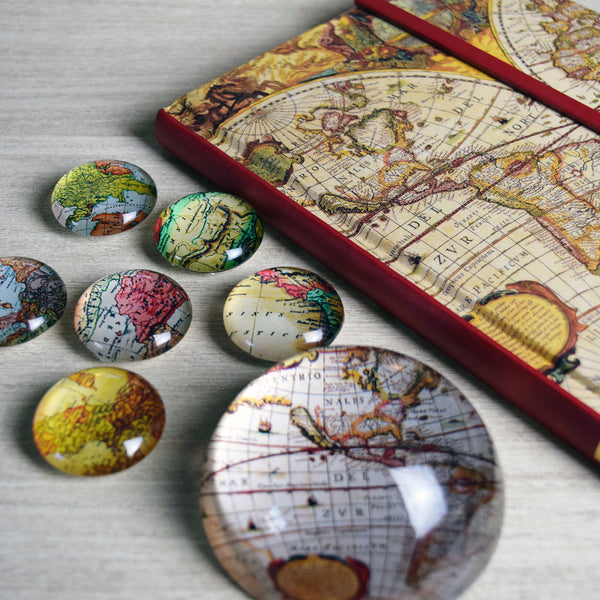 Vintage World Traveler Bundle Set 3: Paperweight, Magnets and Writing Journal