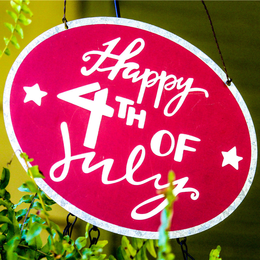 Happy 4th of July Tin Ornament