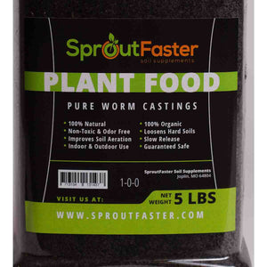 SproutFaster VermiMax+ - Black Earthworm Castings - 5 lbs
