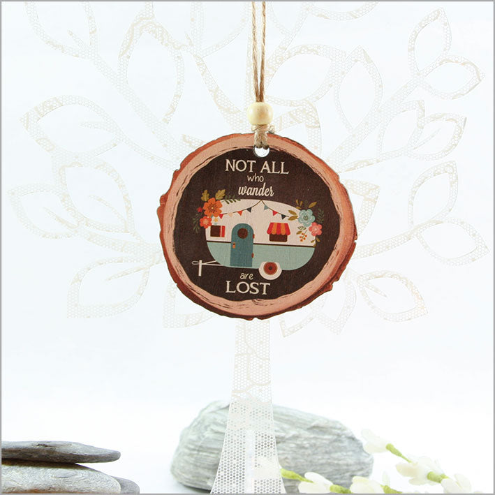Wood Slice Ornament : Caravan - Kiwi Collections