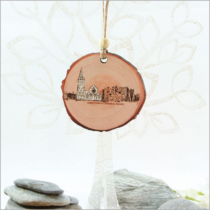 Wood Slice Ornament : Christchurch - Kiwi Collections