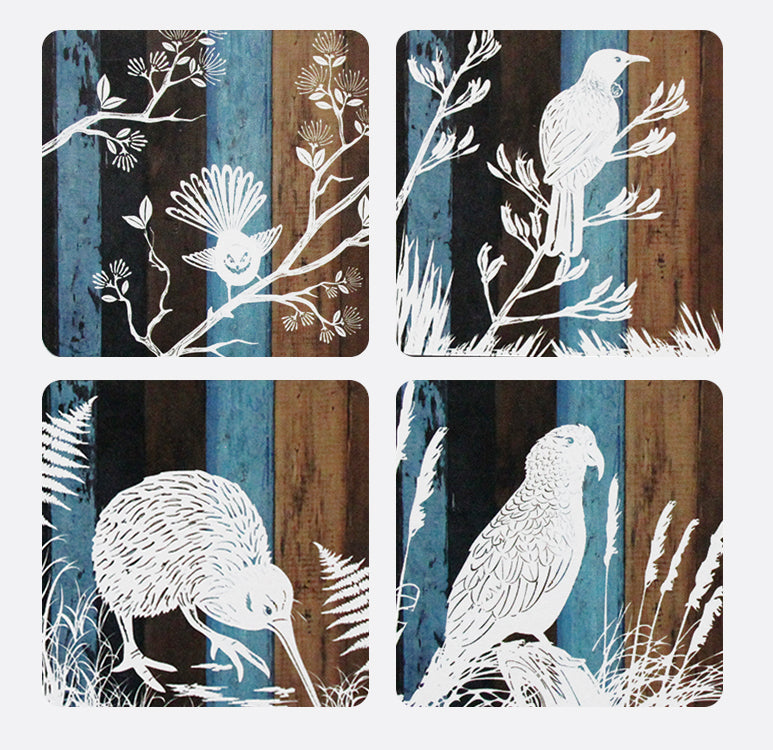 Coasters : Aged Timber Birds - Kiwi Collections
