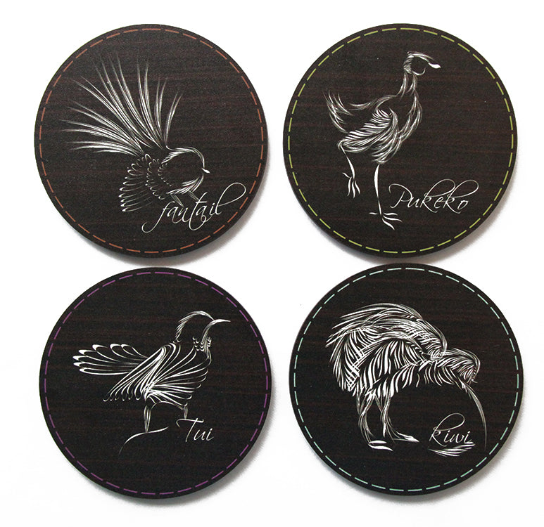 Coasters : Sketch Native Birds - Kiwi Collections