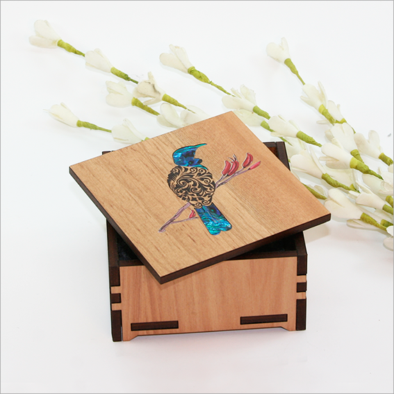 Small Trinket Box : Filigree Tui - Kiwi Collections