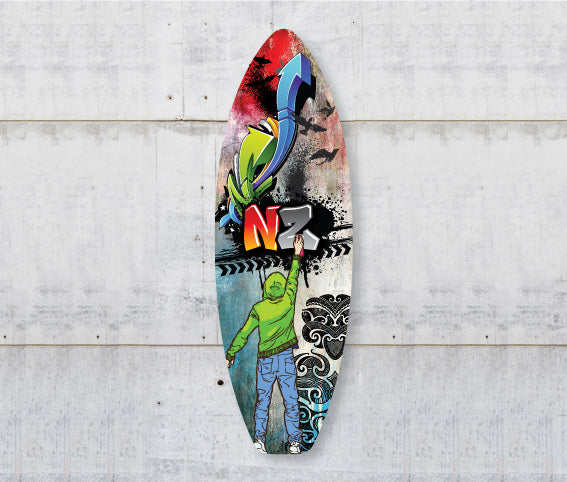 Plywood Surfboard Art : Grafiti NZ - Kiwi Collections