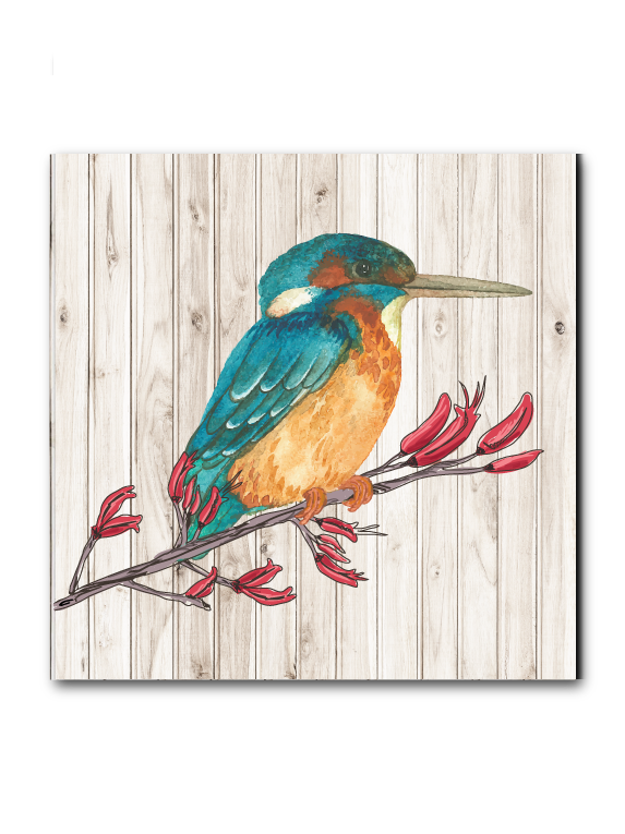 Plywood Art Block : Light wood Kingfisher - Kiwi Collections
