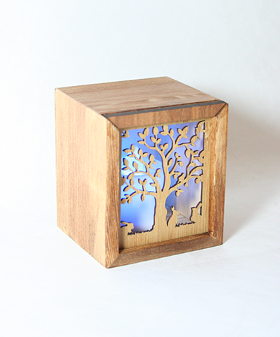 LED TEALIGHT BOX : Tree with rabbits - Kiwi Collections