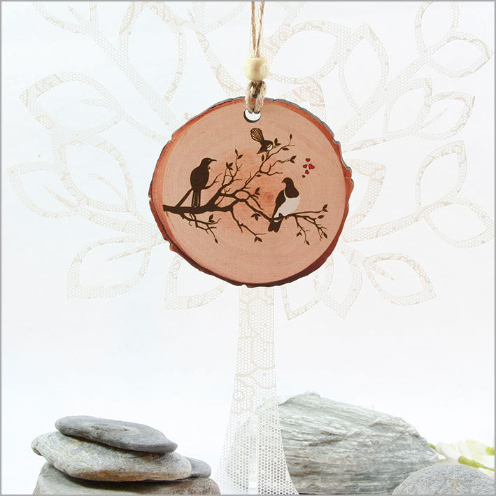 Wood Slice Ornament : Birds on Tree - Kiwi Collections