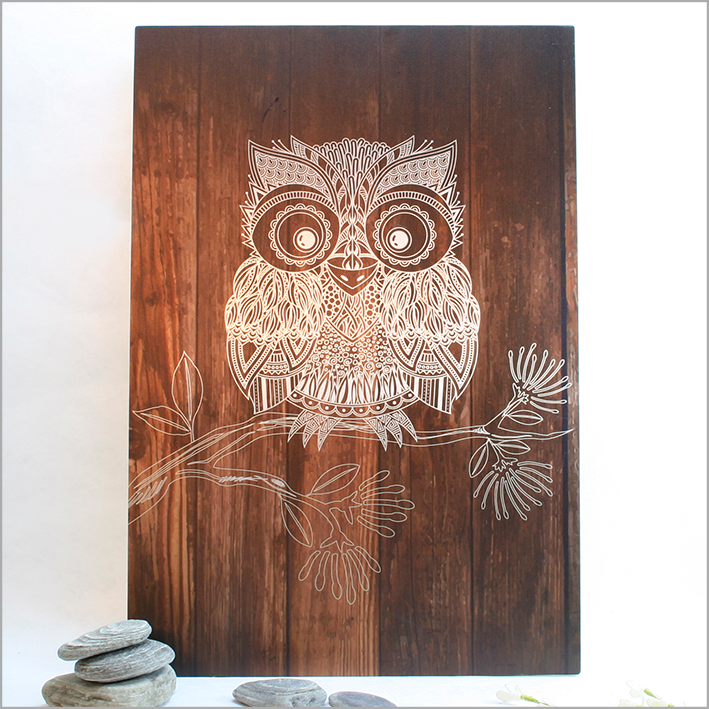 ACM Rectangle Art : Dark Wood Morepork - Kiwi Collections