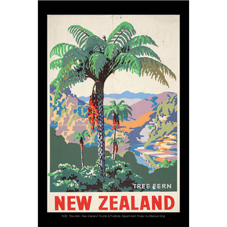 Unique/Thick postcard :  Poster Collection - 1930, Tree fern New Zealand - Kiwi Collections