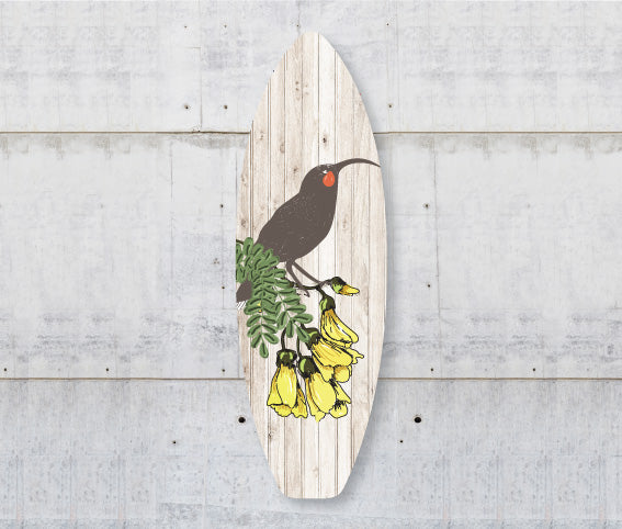 Plywood Surfboard Ar t: Huia (Plank) - Kiwi Collections