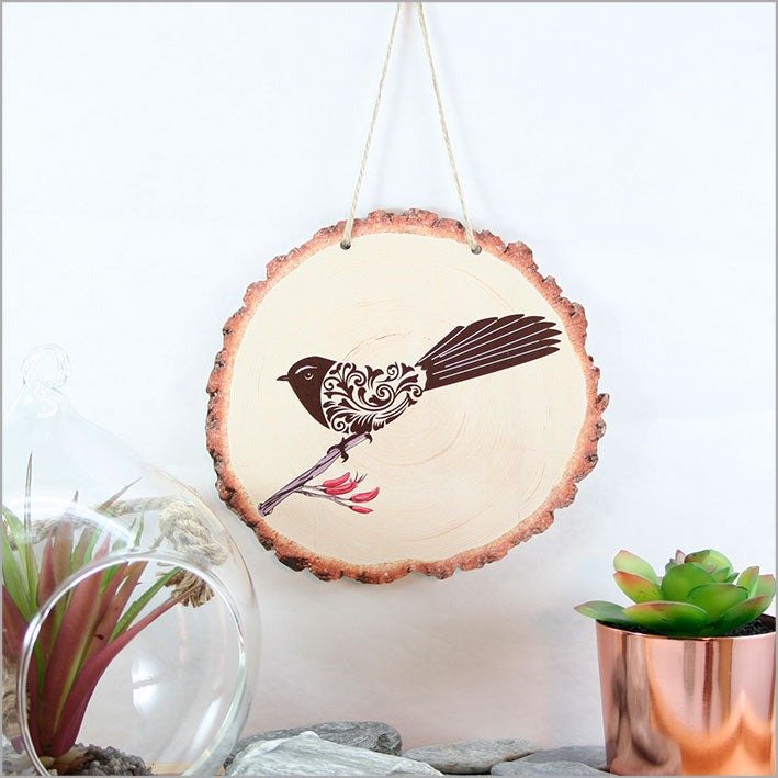 Wood Slice Art: Filigree Fantail - Kiwi Collections
