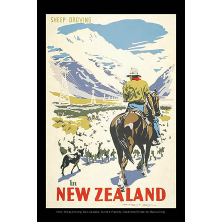 Unique/Thick postcard : Poster Collection - 1930, Sheep driving in New Zealand - Kiwi Collections