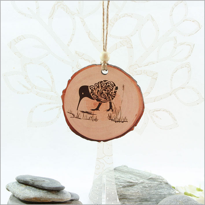 Wood Slice Ornament : Filigree Kiwi - Kiwi Collections