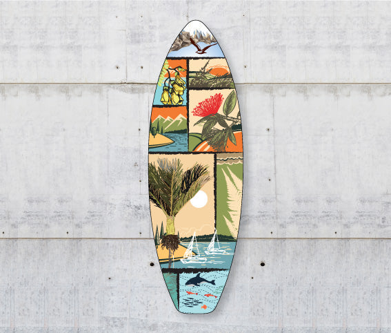 Plywood Surfboard Art : NZ Scene - Kiwi Collections