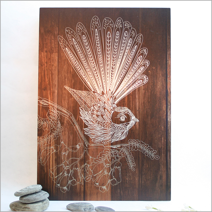 ACM Rectangle Art : Dark Wood Fantail - Kiwi Collections