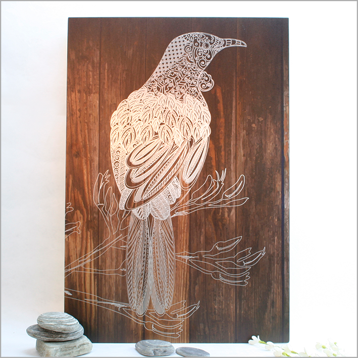 ACM Rectangle Art : Dark Wood Tui - Kiwi Collections