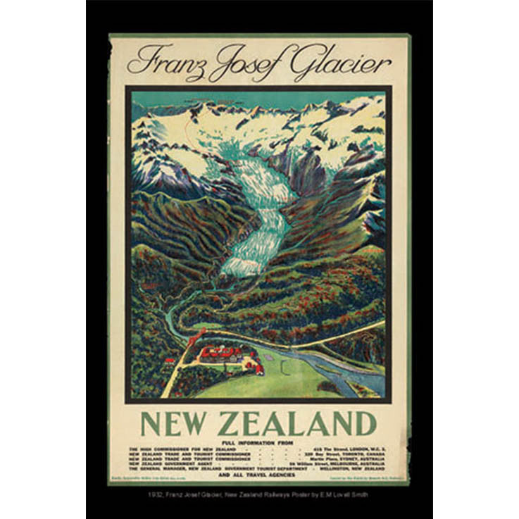 Unique/Thick postcard : Poster Collection - 1932, Franz Josef Glacier, New Zealand - Kiwi Collections