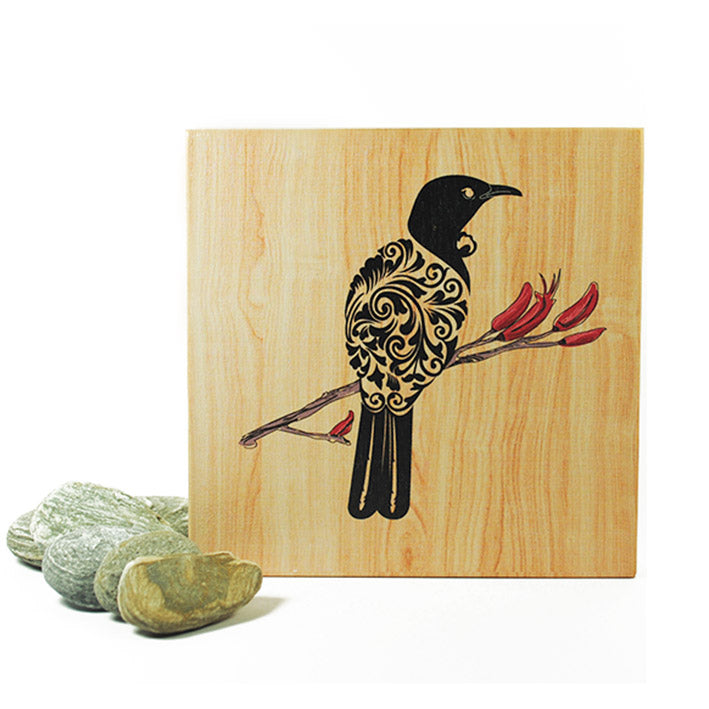Plywood Art Block-Filigree Tui - Kiwi Collections