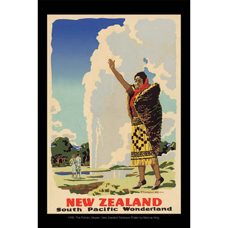 Unique/Thick postcard : Poster Collection - 1955, The Pohutu Geyser, New Zealand - Kiwi Collections
