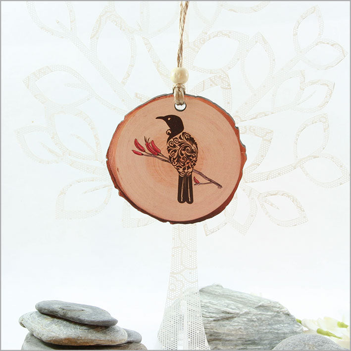 Wood Slice Ornament : Filigree Tui - Kiwi Collections
