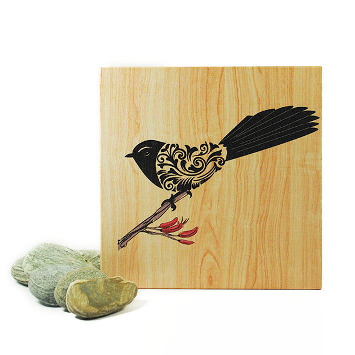 Plywood Art Block-Filigree Fantail - Kiwi Collections