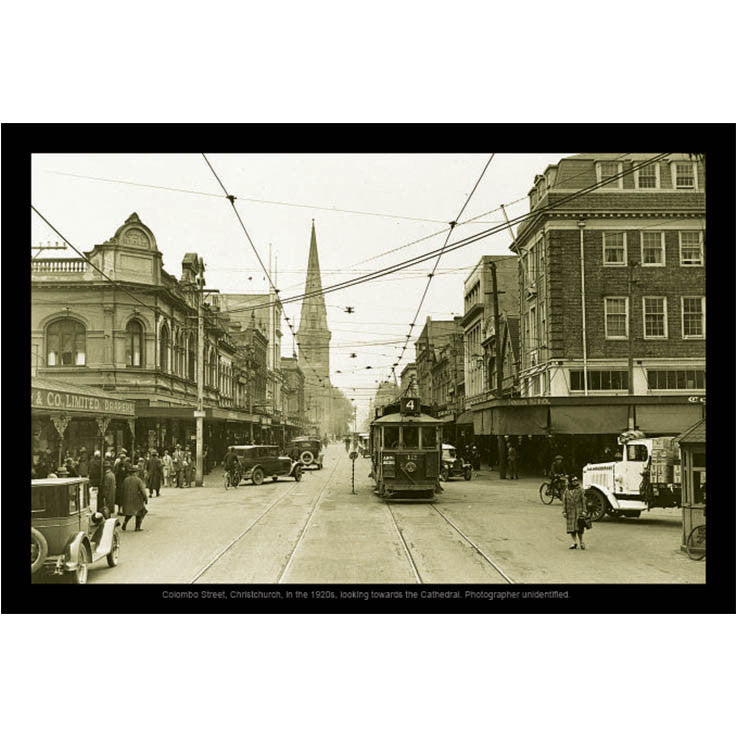 Unique/Thick postcard : Photograph Collection - 1920s, Colombo Street, Christchurch - Kiwi Collections