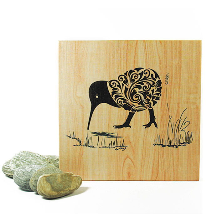 Plywood Art Block-Filigree Kiwi - Kiwi Collections