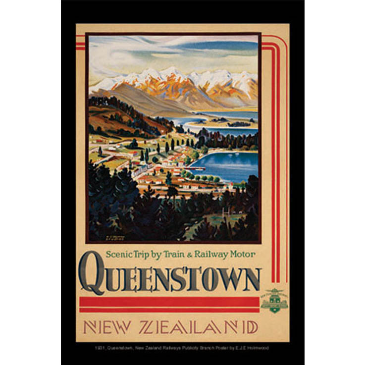 Unique/Thick postcard :  Poster Collection - 1931, Queenstown, New Zealand - Kiwi Collections