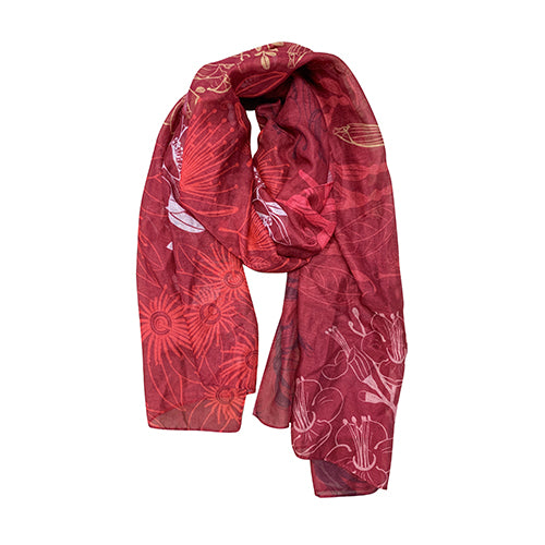Scarf NZ RED Flora Fusion Red