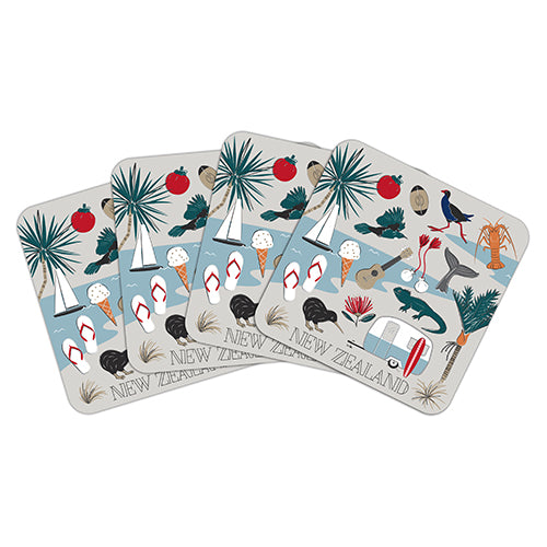 Coaster Set Kiwi Tour - Kiwi Collections