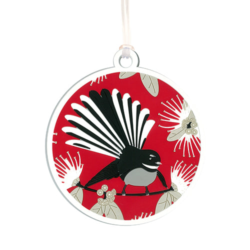 Bag Tag Flirting Fantails Red - Kiwi Collections
