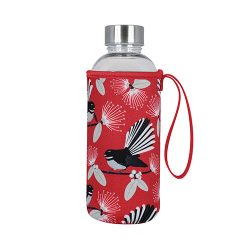 Drink Bottle Flirting Fantails Red - Kiwi Collections
