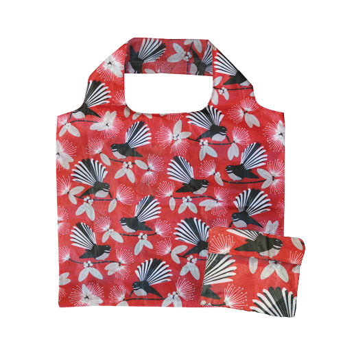 Fold Out Bag Flirting Fantail Red - Kiwi Collections