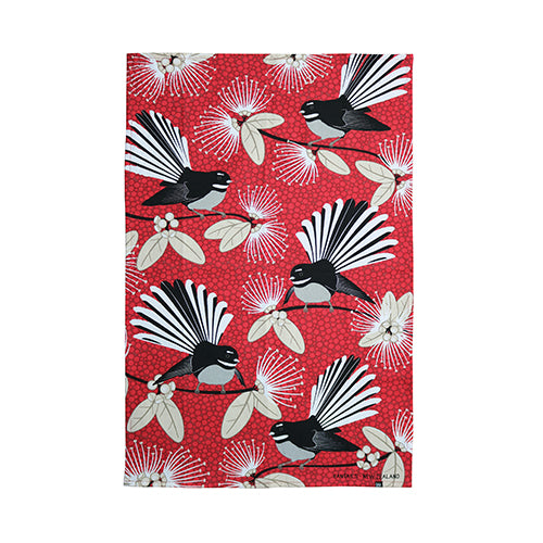 Tea Towel Flirting Fantails Red - Kiwi Collections