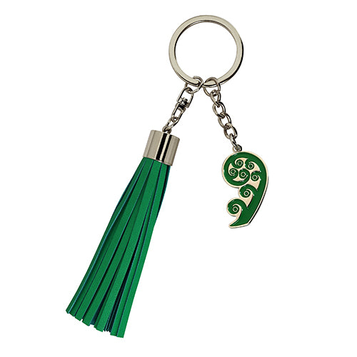 Key Ring Tassel Koru Silver - Kiwi Collections