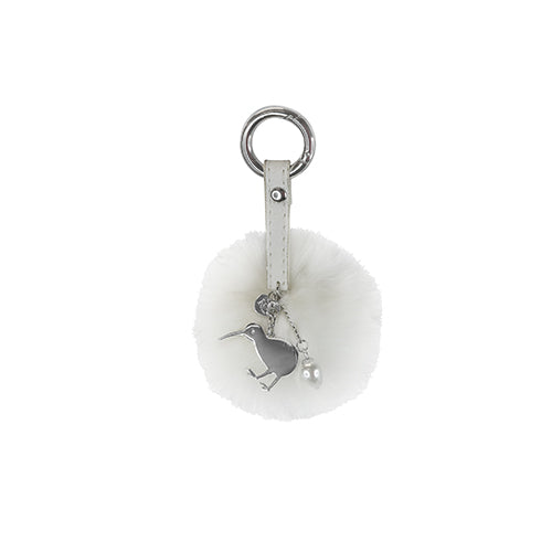 Key Ring PomPom Kiwi White - Kiwi Collections